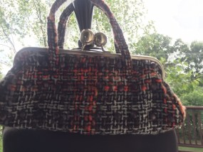 JESSICA McCLINTOCK  Purse Bag Brown Biege Orange Plaid Beaded Silver Ball Close