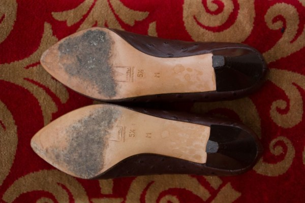 Vtg Women's VANELI Brown Ostrich Pattern Leather Shoes Pumps Italy Size  5.5 M