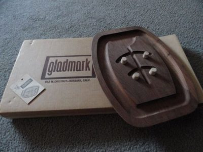 Vintage 1970's GLADMARK Wooden Serving Tray Piece Original MIB Burbank, Calif.