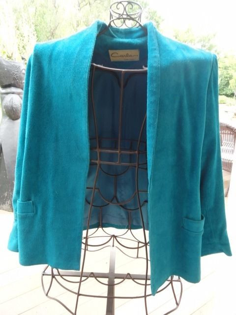 Women's Vintage CARLA NEW YORK Suede Leather Turquoise Jacket 15/16 Fully Lined