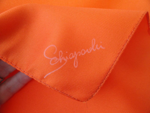 Vintage 1960's Schiaparelli Orange Scarf Glentex Made in Italy 100% Polyester
