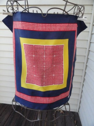 Vintage 1970's Paoli EURO FASHION Red Blue Yellow Dotted Scarf 100% Acetate NWOT