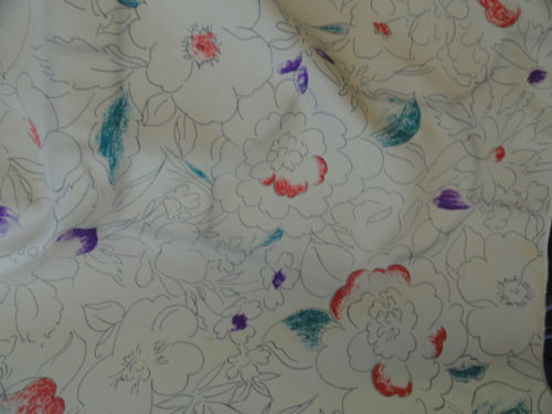 Vintage1960's MIMOSA 320 FIFTH AVE Beige Abstract Floral Pattern Scarf