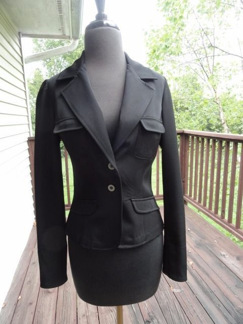 Women's HOTKISS Black Front Button Jacket Blazer Size Small Half Lining NWOT