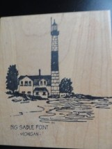 BIG SABLE POINT LIGHTHOUSE Ludington Michigan Rubber Ink Stamp Embossing New
