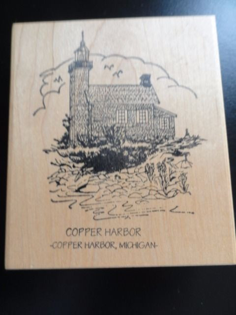COPPER HARBOR LIGHTHOUSE KEWEENAW Michigan Rubber Ink Stamp Embossing New