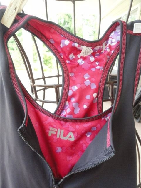 Women Tennis Fila Zip Top Bra M Skirt Skort XS Gray Rose Pink Pattern NWOT