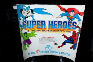 1990 SUPER HEROES Poster Batman Hulk Superman Spiderman Comic Book Detroit Mich