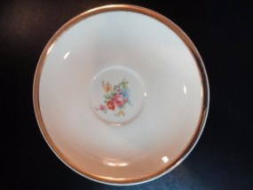 """The Paden City Pottery Co. 6"""" Saucer Ivory Gold Rim Floral Pattern Green Stamp"""