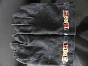 Vintage Men's Black Leather Gloves Hudson's Italy 8.5 Accents 100% Wool Lining