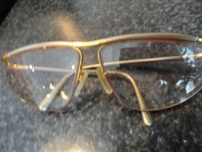 Vintage LOGO Metal Gold Pewter Eye Glasses Made in France Ex  Cond