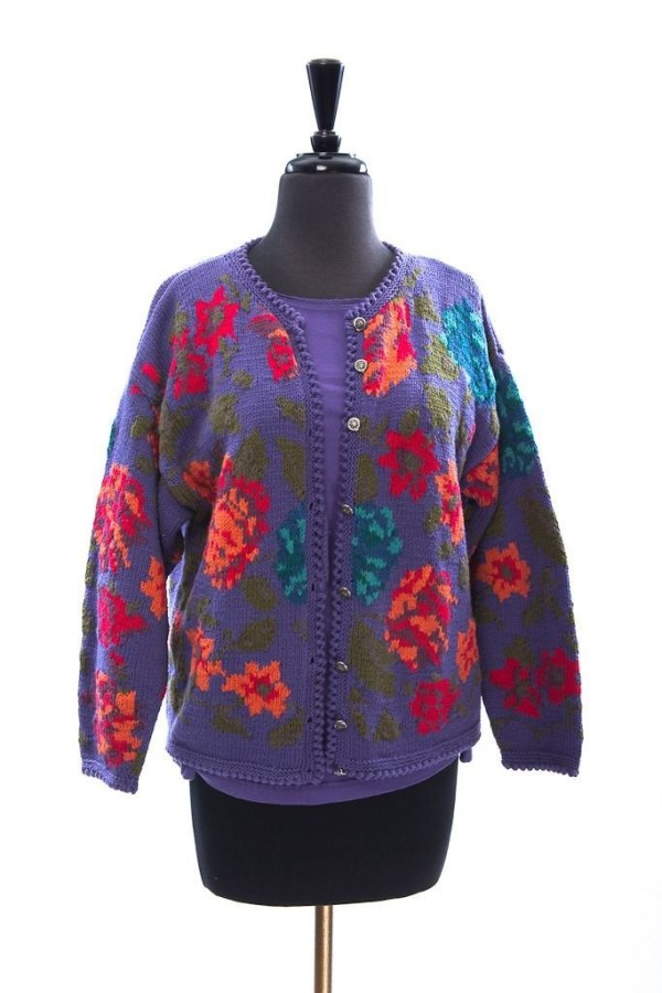 Girl's GAP Floral Purple Sweater With Matching Gap Purple Long Sleeve Top XL