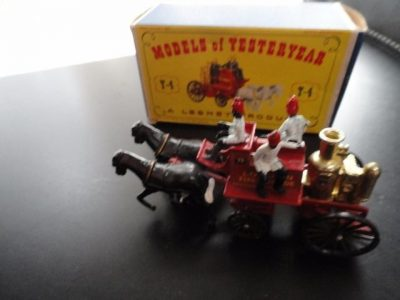 Lesney Matchbox Yesteryear 1963 Y4 SHANDMASON LONDON Fire Engine Black Horses