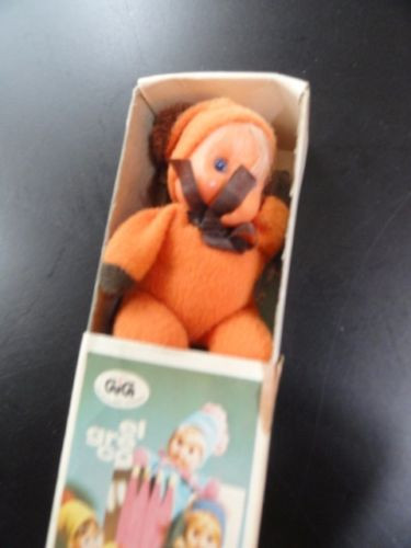 Vtg '73 El Greco Gi Gi Doll Matchbox NIB Made In Greece Orange Brown Paper Work