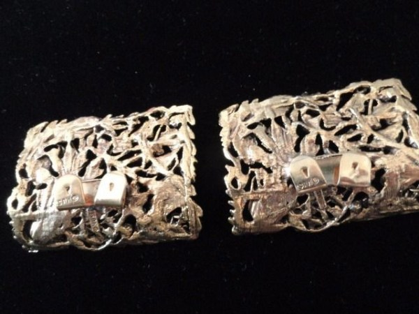 Vintage MUSI Gold Tone Rectangle Floral Ornate Victorian Shoe Buckles Clips
