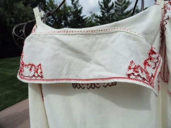Vintage Men's 1975 Handmade Romanian Long Sleeve Shirt Embroidered Cross Stitch