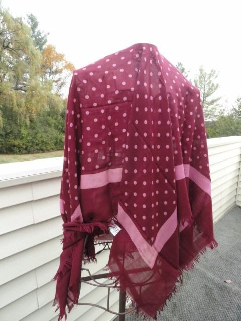 Vtg 1970's VALENTINO COTURE Scarf Wrap Cashmere Silk Maroon Pink Polka Dot Italy