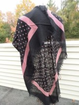 Vtg 1970's VALENTINO COUTURE Scarf Wrap Cashmere Silk Bl Mauve Polka Dot Italy