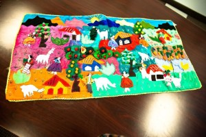 "Vtg Peruvian Tapestry Handcrafted In Peru Appliqué Folk Art Wall Hanging 37"" x19"