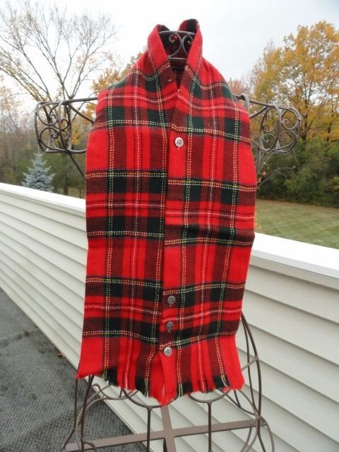 Vtg 1960's SUPERA DOUBLET Red Plaid 4 Button Scarf 100% Zephyr Wool 24 x 5.5