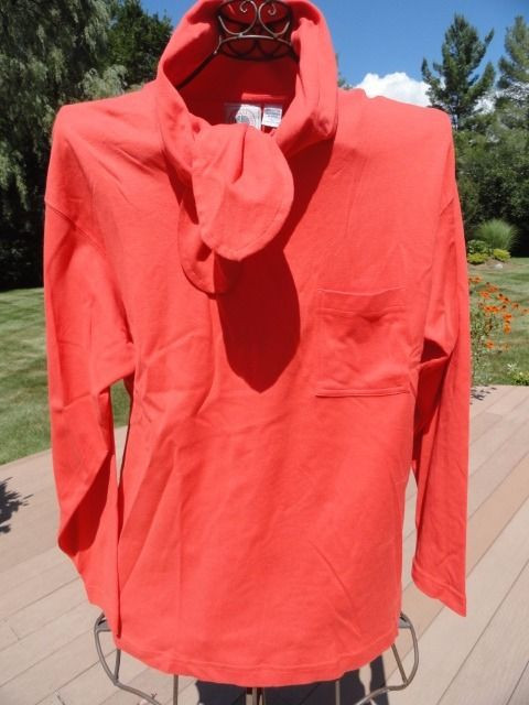 Vintage  Women's CAPE ISLE KNITTERS Orange Bow Tie At Neck Top Blouse Large