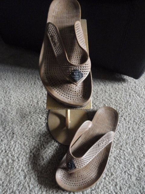 Men's Sensi ASSISI Sandals Flip Flops Brown Size 9 Euro 40-42 Made In Italy