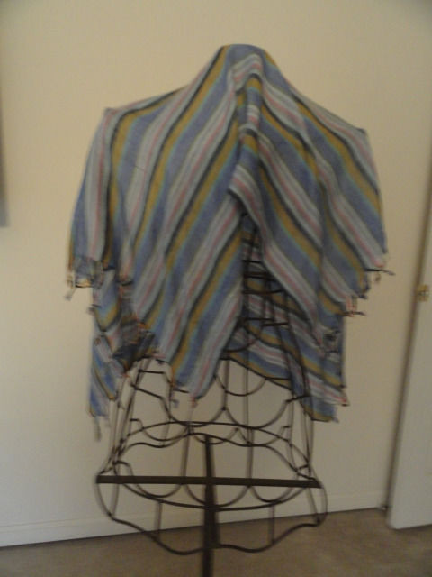 Vintage Blues Multicolored Shawl Scarf Made In India 100% Vicose WPL 209 NWOT