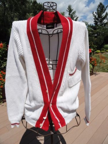 Vintage CRANMORE White & Red Cardigan Button Down Knit Sweater L 100% Cotton