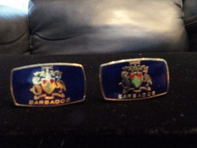 Vtg 1970 Cufflinks BARBADOS Coat Of Arms Enamel England  Handmade Ex Con