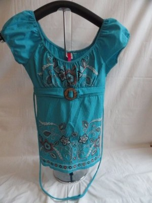 Women's Blue Embroidered Peasant Top Empire Waist Buckle Ties In The Back M