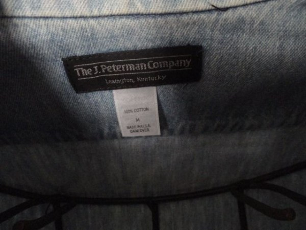 Men's J. Peterman Company Denim Nehru Collar Button Down Shirt Preowned M
