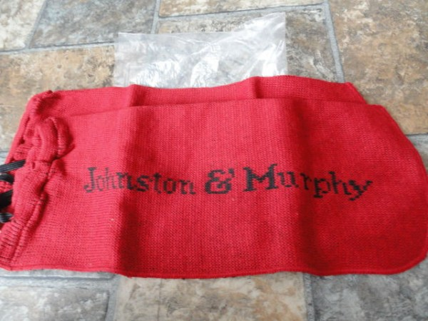 "Vintage Johnson & Murphy Red & Black Cloth Shoe Bags Black Pull Ties NIB 3""x7"""