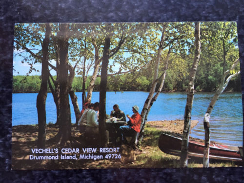 Vtg Postcard Unposted VECHELL'S CEDAR VIEW RESORT Drummond Island MI Lakeside