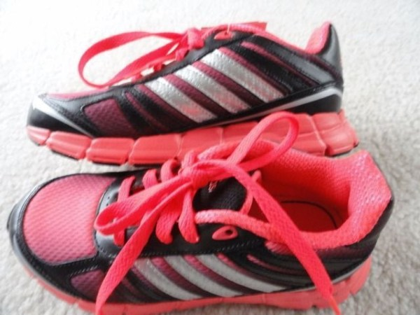 Adidas a-adifit K Running/Course Black Pink Ortholite Shoe Size 2 Non Mark  NWT