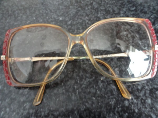 Vintage 1970's Large Red Triangle Print Eyeglasses Clear Plastic Frame Italy