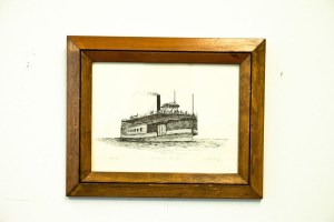 "Vtg ""OMAR D. CONGER"" Ship Great Lakes Artist J. Clary 59/180 Signed Framed"