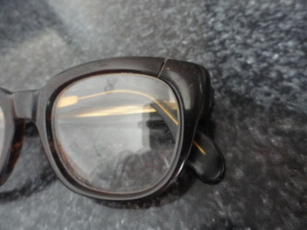 Antique Round Browline Black Eyeglasses Wayfarer For Repurposing Plastic