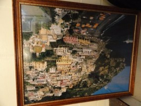 "Vintage Poster Amalfi Coast Italy 40 1/2"" x 29"" Framed Beautifully"