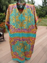 Women's SANTE Caftan Maxi Dress Kaftan Pink Blue Gold Pattern One Size Preown