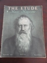 Vtg Etude Magazine Music Magazine September 1934 Johannes Brahmd Very Good Cond