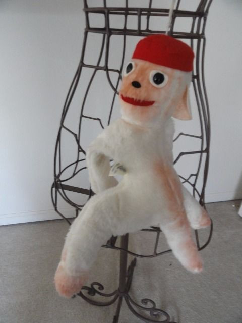 """Vintage 1960's Monkey Elka Toys With A Red Hat New York 16"""" Preowned Great Cond"""