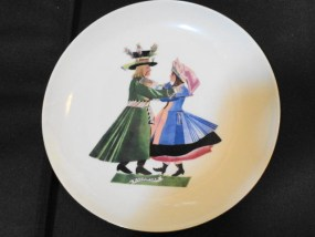 "Vintage Favolina China Polish Dancers ""Kujawiak"" Plate Made In Poland Mnt Cond"