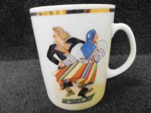 "Vintage Favolina China Polish Dancers ""Oberek"" Mug Made In Poland Mint Cond"