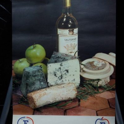 Vtg 1970's French Cheese Poster Art Pomme De  France Sauternes Wine R. Faux