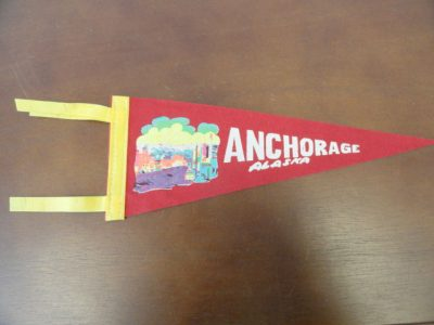 """Vtg Historical Banner Pennant Anchorage Alaska 11.5""""x4 3/4"""" Flaps 3"""" Double Yell"""