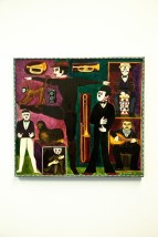 """Vtg 1972 Ken Nielsen Painting Oil On Wood """"MUSICAL CAPERS"""" Mexico Provenance"""