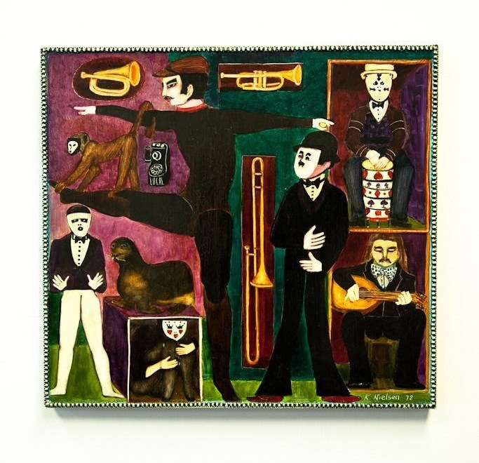 "Vtg 1972 Ken Nielsen Painting Oil On Wood ""MUSICAL CAPERS"" Mexico Provenance"