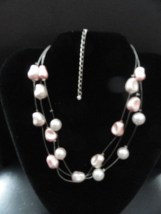"""Fashion Jewelry Pink Necklace 3 Strands """"Floating"""" 14.5 """"  Adjustable Catch NWOT"""