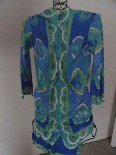 Vtg Created By Emilio Pucci For Formfit Rogers Nightgown & Robe Blue Green S