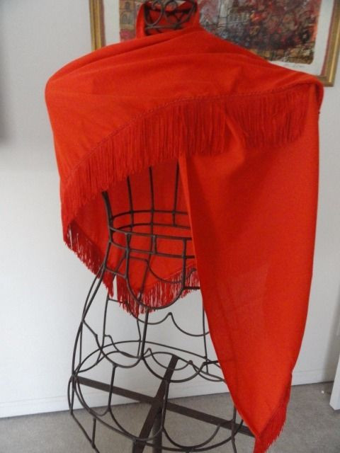 "Vtg 1960's Bright Orange Silk Scarf Wrap 3"" Fringe Triangle 86"" x 25"" Ex Cond"